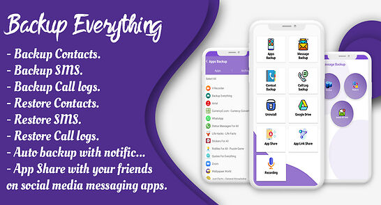 Backup / Restore – Contacts, Apps, SMS